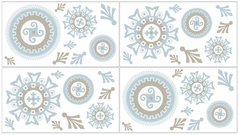 Blue and Taupe Hayden Baby, Childrens and Kids Wall Decal Stickers by Sweet Jojo Designs - Set of 4 Sheets