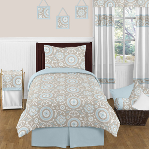 JoJo Designs Blue and Taupe Hayden Childrens and Kids Bed...