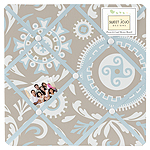 Blue and Taupe Hayden Fabric Memory/Memo Photo Bulletin Board by Sweet Jojo Designs