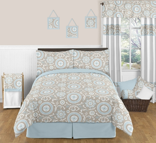 Blue and Taupe Hayden Childrens and Kids Bedding - 3pc Full / Queen Set by Sweet Jojo Designs - Click to enlarge