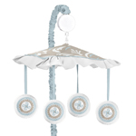 Blue and Taupe Hayden Musical Baby Crib Mobile by Sweet J...