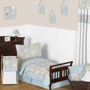 Blue and Taupe Hayden Toddler Bedding - 5pc Set by Sweet ...