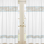 Blue and Taupe Hayden Window Treatment Panels by Sweet Jojo Designs - Set of 2