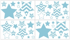 Turquoise and White Chevron Baby, Childrens and Kids Wall Decal Stickers - Set of 4 Sheets