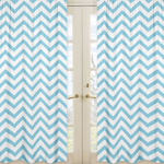 Turquoise and White Chevron Window Treatment Zig Zag Panels - Set of 2