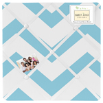 Turquoise and White Chevron Zig Zag Fabric Memory/Memo Photo Bulletin Board