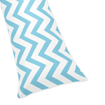 Blue and White Chevron Zig Zag Full Length Double Zippered Body Pillow Case Cover
