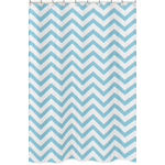 Turquoise and White Chevron Zig Zag Kids Bathroom Fabric Bath Shower Curtain
