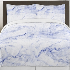 Blue and White Marble 3pc Teen Full / Queen Bedding Set Collection by Sweet Jojo Designs