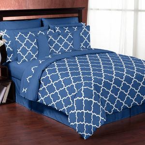 Blue and White Trellis 3pc Bed in a Bag King Bedding Set ...