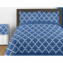 Blue and White Trellis 4pc Childrens and Kids Twin Bedding Set by Sweet Jojo Designs