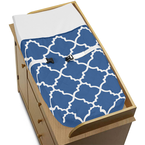 Blue and White Trellis Baby Changing Pad Cover by Sweet J...