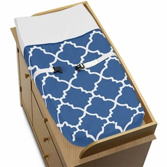 Blue and White Trellis Baby Changing Pad Cover by Sweet Jojo Designs