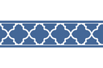 Blue and White Trellis Kids and Baby Modern Wall Paper Border