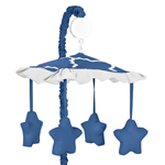 Blue and White Trellis Musical Baby Crib Mobile by Sweet Jojo Designs