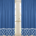 Blue and White Trellis Window Treatment Panels - Set of 2
