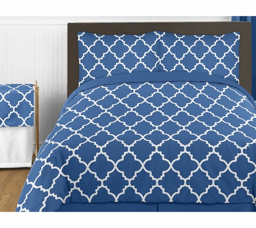 Blue and White Trellis 4pc Childrens and Kids Twin Bedding Set by Sweet Jojo Designs - Click to enlarge