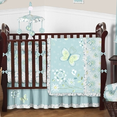 Blue Butterfly Baby Bedding - 9 pc Crib Set by Sweet Jojo Designs
