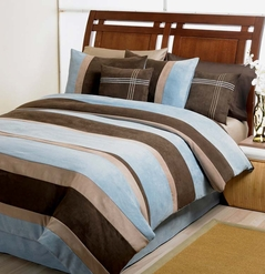 Blue, Chocolate, Camel Jacaranda Striped MicroSuede 6pc Duvet Cover Bedding Set