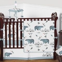 Blue, Grey and White Bear Mountain Baby Bedding - 9pc Boys Crib Set by Sweet Jojo Designs