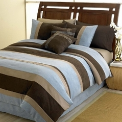 Blue Jacaranda Striped Microsuede 6pc Bed in a Bag