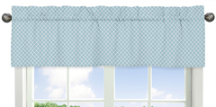 Blue Lattice Window Valance for Woodland Animal Toile Collection by Sweet Jojo Designs