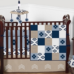Blue, Taupe and White Aztec Chevron Arrow Baby Bedding - 9pc Boys Crib Set