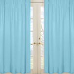 Solid Window Treatment Panels for Turquoise and White Chevron Collection - Set of 2