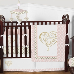 Blush Pink and Gold Heart Baby Girl Bedding - 9pc Crib Set by Sweet Jojo Designs