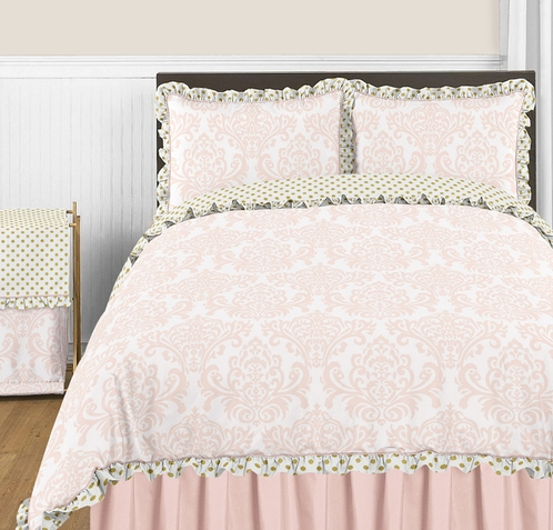 Blush Pink, Gold and White Amelia 3pc Full / Queen Girls Bedding Set by Sweet Jojo Designs - Click to enlarge
