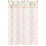 Blush Pink, Gold and White Amelia Kids Bathroom Fabric Bath Shower Curtain