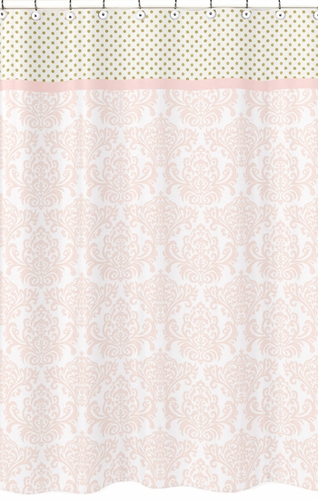 Blush Pink Gold And White Amelia Kids Bathroom Fabric Bath Shower Curtain On
