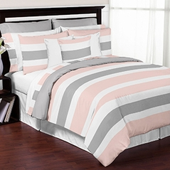Blush Pink, Grey and White Stripe 4 Piece Childrens, Kids, and Teen Bedding Set Collection by Sweet Jojo Designs