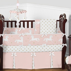 Blush Pink, Metallic Gold and White Unicorn Baby Bedding - 9pc Girls Crib Set by Sweet Jojo Designs