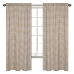 Brown Plaid Window Treatment Panels for All Star Sports Collection by Sweet Jojo Designs - Set of 2