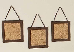 Camel and Chocolate Paisley Wall Hangings
