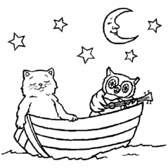 Cat and Owl in a Boat