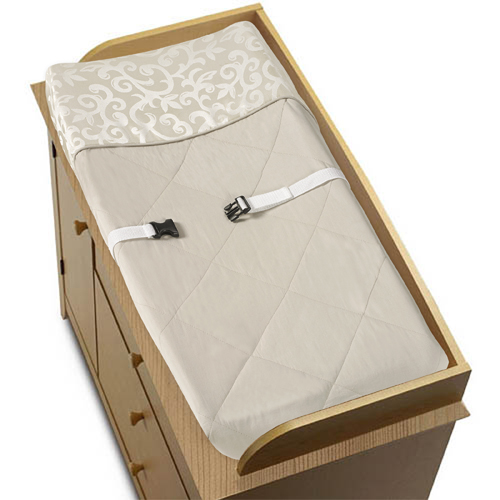 Champagne and Ivory Victoria Baby Changing Pad Cover by S...