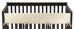 Champagne and Ivory Victoria Baby Crib Long Rail Guard Cover by Sweet Jojo Designs