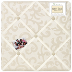 Champagne and Ivory Victoria Fabric Memory/Memo Photo Bulletin Board by Sweet Jojo Designs
