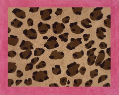 Cheetah Girl Pink and Brown Accent Floor Rug