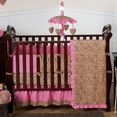 Cheetah Girl Pink and Brown Baby Bedding - 9 pc Crib Set