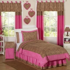 Cheetah Girl Pink and Brown Childrens Bedding - 4 pc Twin Set
