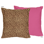 Cheetah Girl Pink and Brown Decorative Accent Throw Pillow by Sweet Jojo Designs