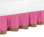 Cheetah Girl Pink and Brown Queen Bed Skirt by Sweet Jojo Designs