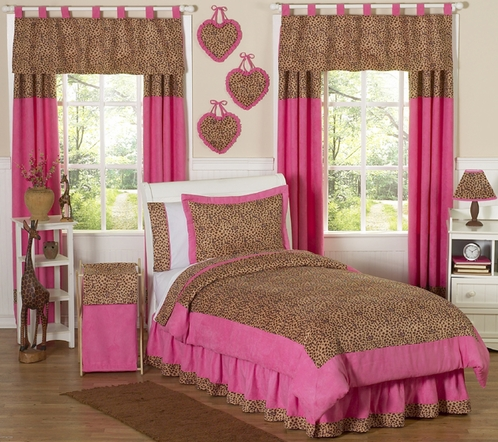 Cheetah Girl Pink and Brown Teen Bedding - 3 pc Full / Queen Set - Click to enlarge