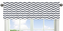 Chevron Wave Print Window Valance for Blue Whale Collection by Sweet Jojo Designs