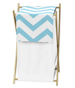 Childrens/Kids Clothes Laundry Hamper for Blue and White Chevron Zig Zag Bedding
