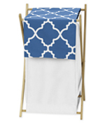 Childrens/Kids Clothes Laundry Hamper for Blue and White Trellis Bedding