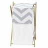 Childrens/Kids Clothes Laundry Hamper for Gray and White Chevron Zig Zag Bedding